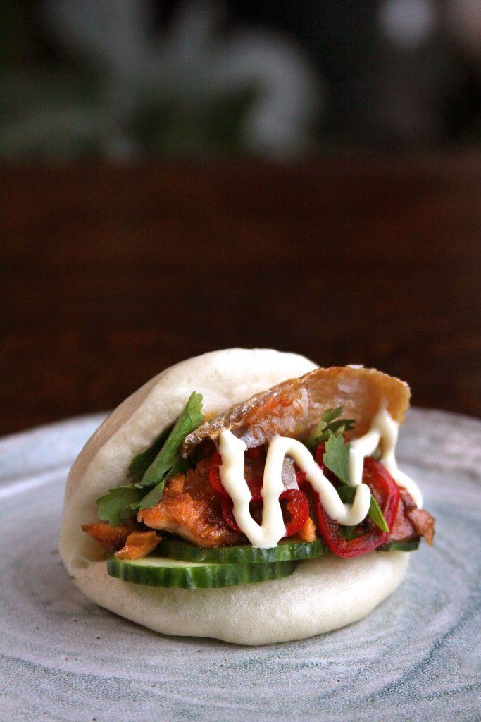 Bao bun with salmon filling