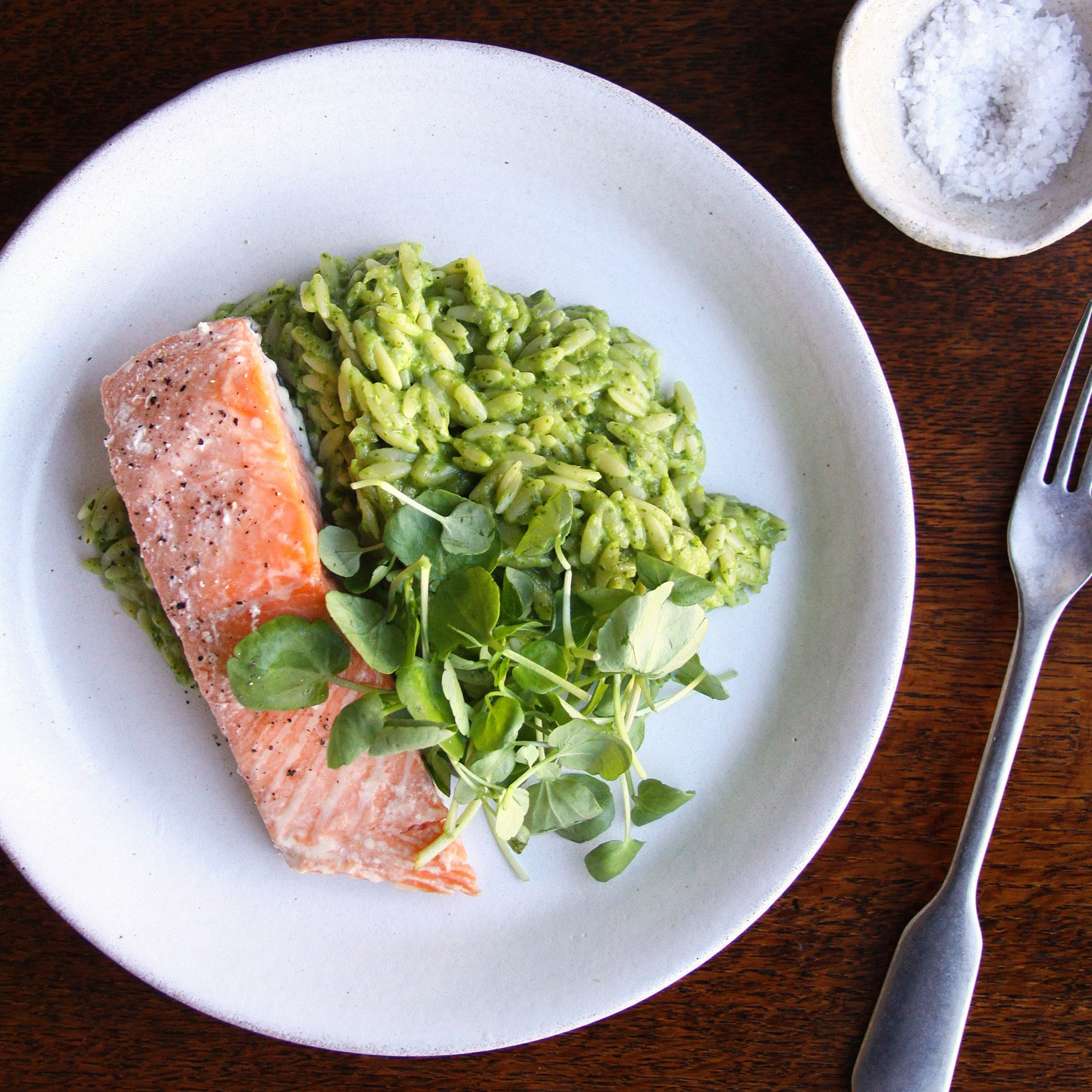 trout fillet and watercress risotto